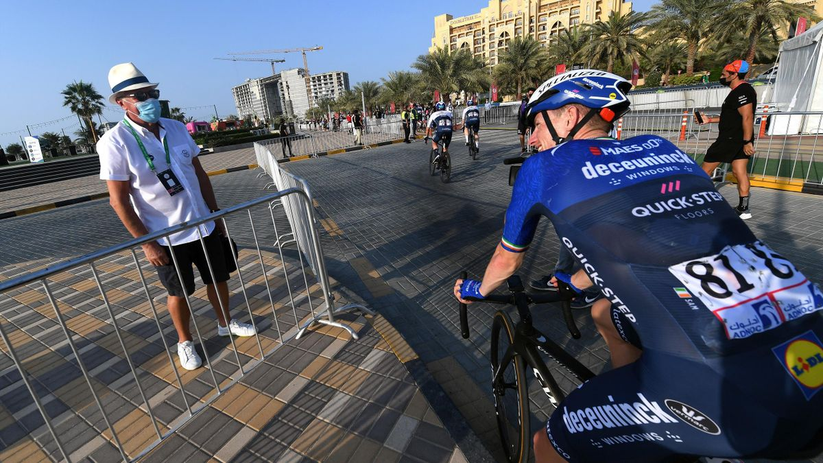 AL MARJAN ISLAND, UNITED ARAB EMIRATES - FEBRUARY 24: Arrival / Patrick Lefevere of Belgium CEO Manager of Team Deceuninck - Quick-Step & Sam Bennett of Ireland and Team Deceuninck - Quick-Step Celebration, during the 3rd UAE Tour 2021, Stage 4 a 204km st