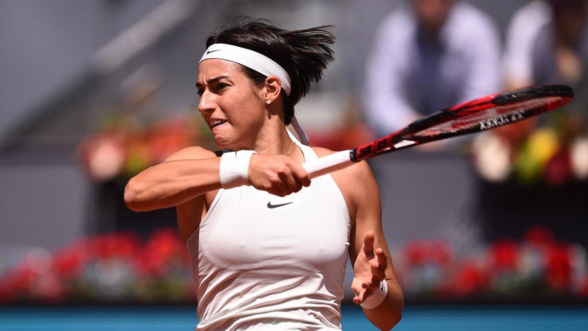 Caroline Garcia lors de son quart de finale contre Carla Suarez Navarro à Madrid