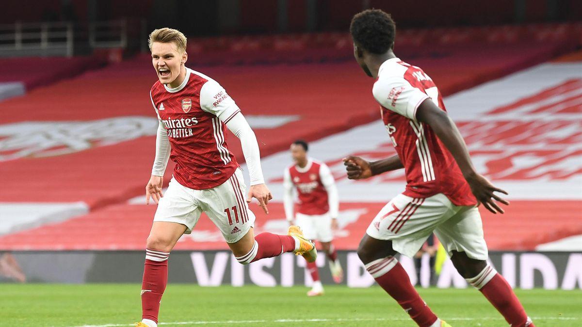 Martin Ödegaard (l.) freut sich über seinen Ausgleichstreffer gegen Tottenham