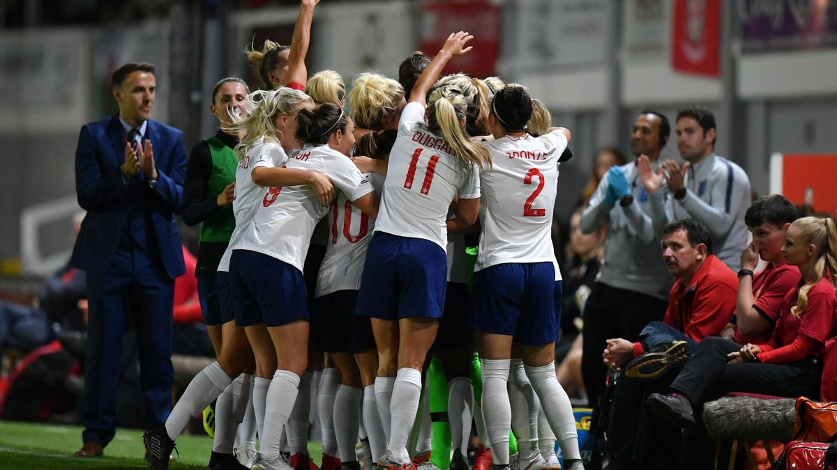 Jill Scott of England celebrates scoring the second goal during the Women's World Cup qualifier between Wales Women and England Women
