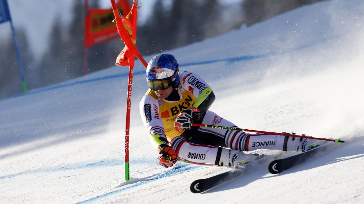 Alexis Pinturault of France takes 1st place during the Audi FIS Alpine Ski World Cup Men's Giant Slalom on January 8, 2021 in Adelboden Switzerland.