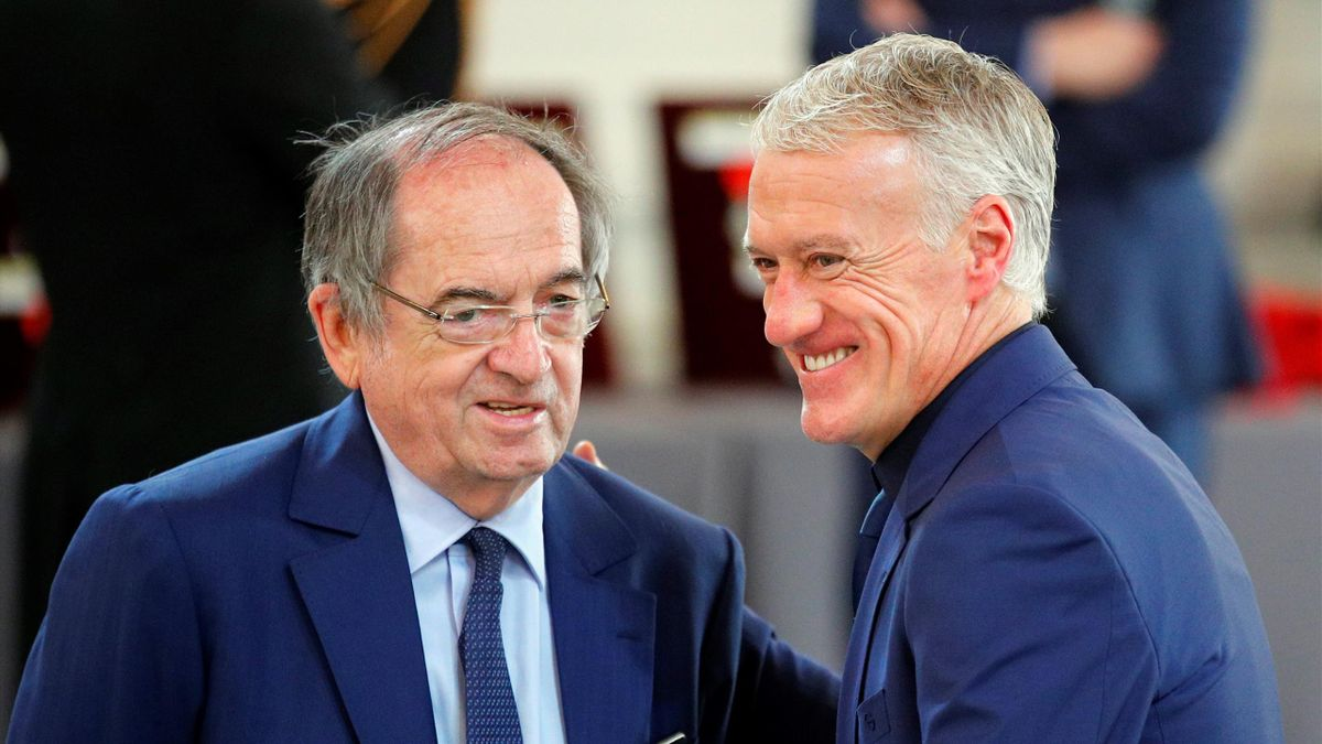 Noel Le Graet (L) and French national football team head coach Didier Deschamps