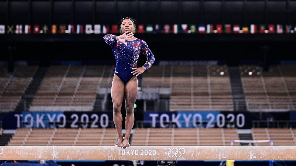 Simone Biles of United States of America during women's qualification for the Artistic Gymnastics final at the Olympics at Ariake Gymnastics Centre, Tokyo, Japan on July 25, 2021