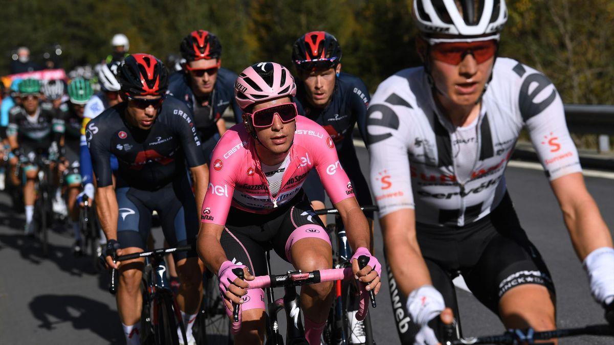 Joao Almeida of Portugal and Team Deceuninck - Quick-Step Pink Leader Jersey
