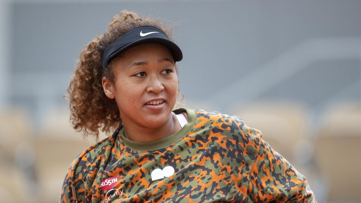 Naomi Osaka of Japan during practice on Court Philippe-Chatrier during a practice match against Ashleigh Barty of Australia in preparation for the 2021 French Open Tennis Tournament at Roland Garros