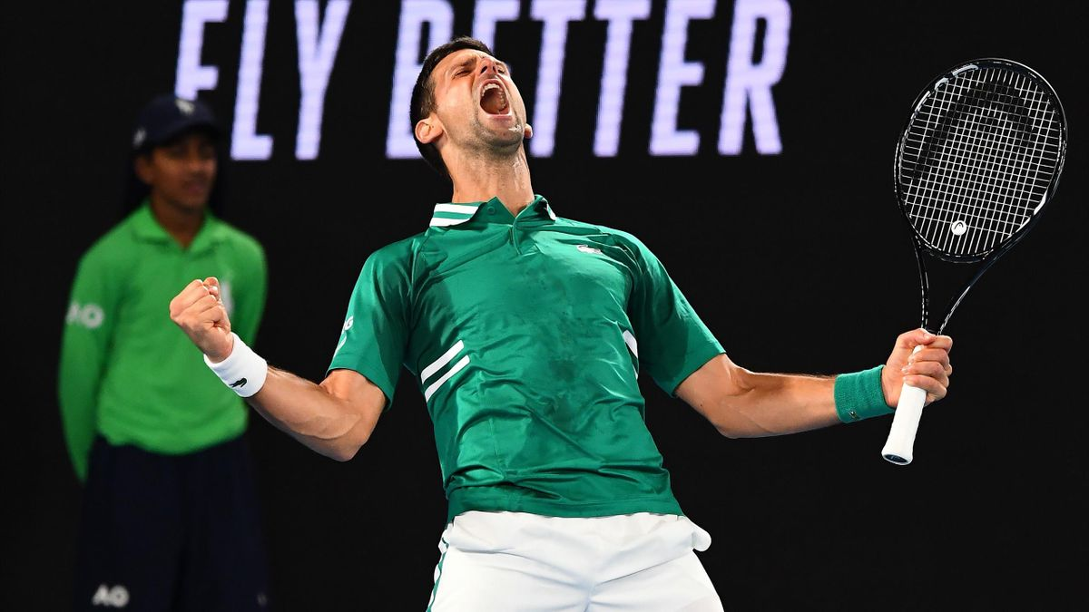 Serbia's Novak Djokovic celebrates after winning against Taylor Fritz of the US during their men's singles match on day five