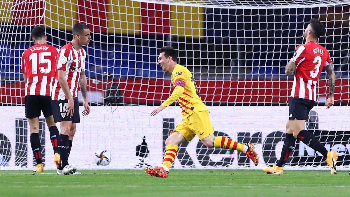 Lionel Messi jubelt - Athletic Bilbao vs. FC Barcelona