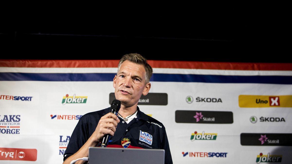 Landslagssjef Stig Kristiansen presenterte nimannstroppen til Bergen-VM i Oslo.