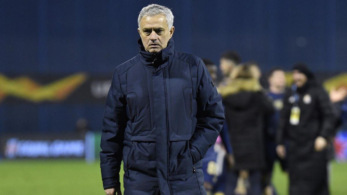 Jose Mourinho, Manager of Tottenham Hotspur looks dejected