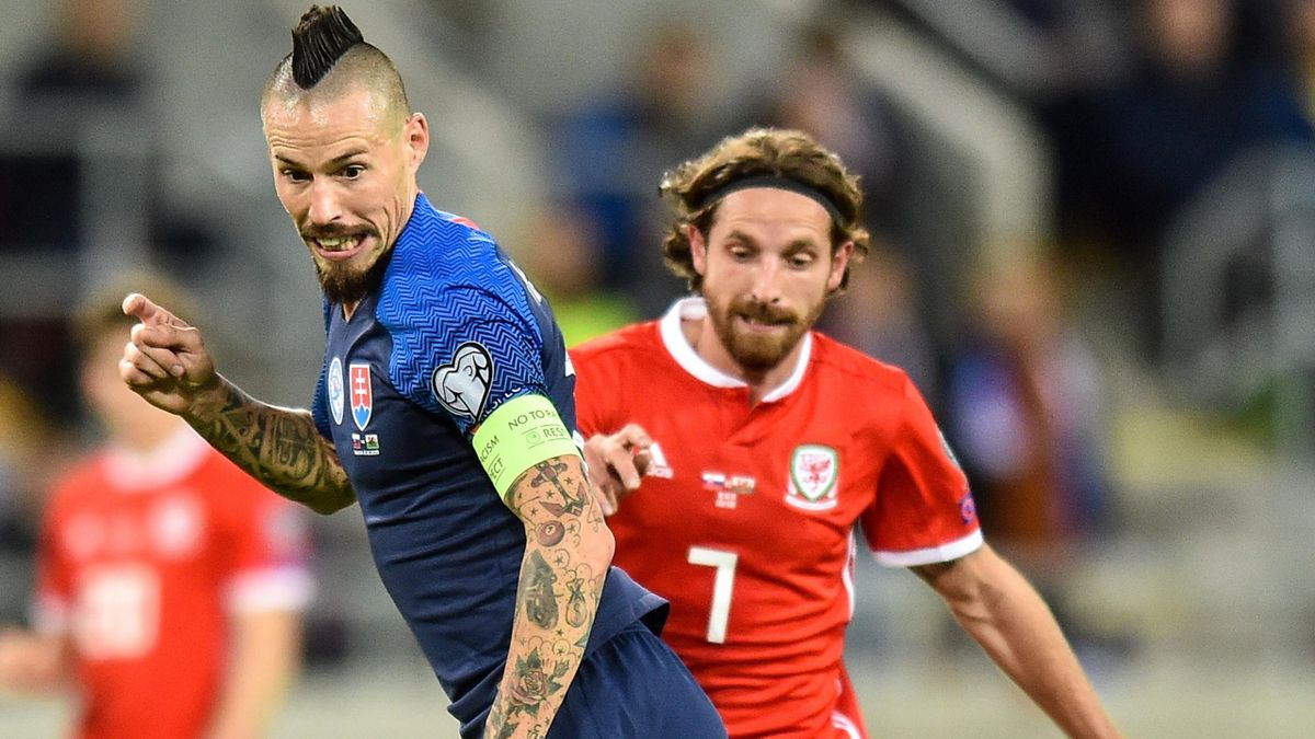 Marek Hamsik of Slovakia passes the ball during the UEFA Euro 2020 qualifier between Slovakia and Wales on October 10, 2019