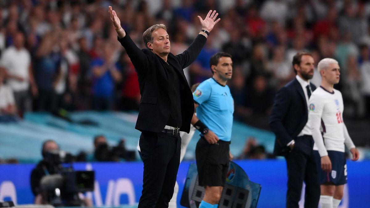 Kasper Hjulmand, Head Coach of Denmark reacts during the UEFA Euro 2020 Championship Semi-final match between England and Denmark