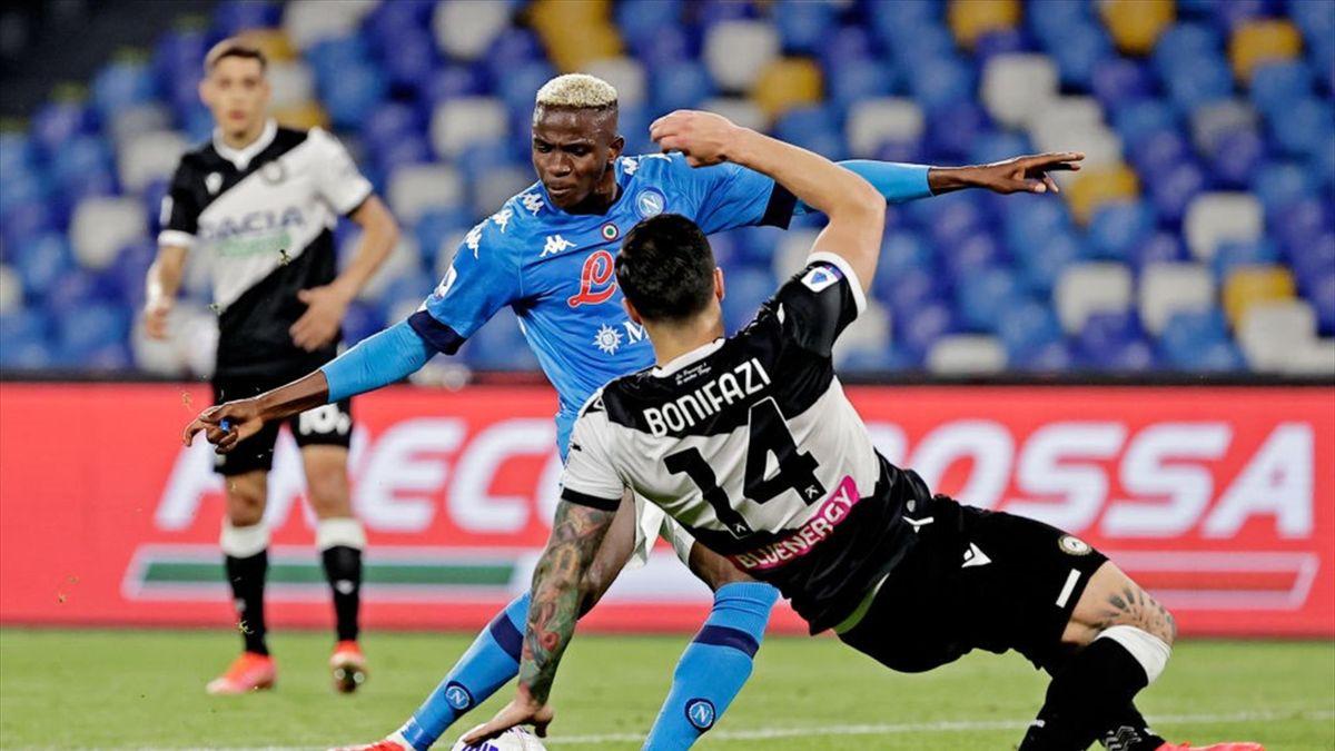 Victor Osimhen e Kevin Bonifazi - Napoli-Udinese Serie A 2020-21