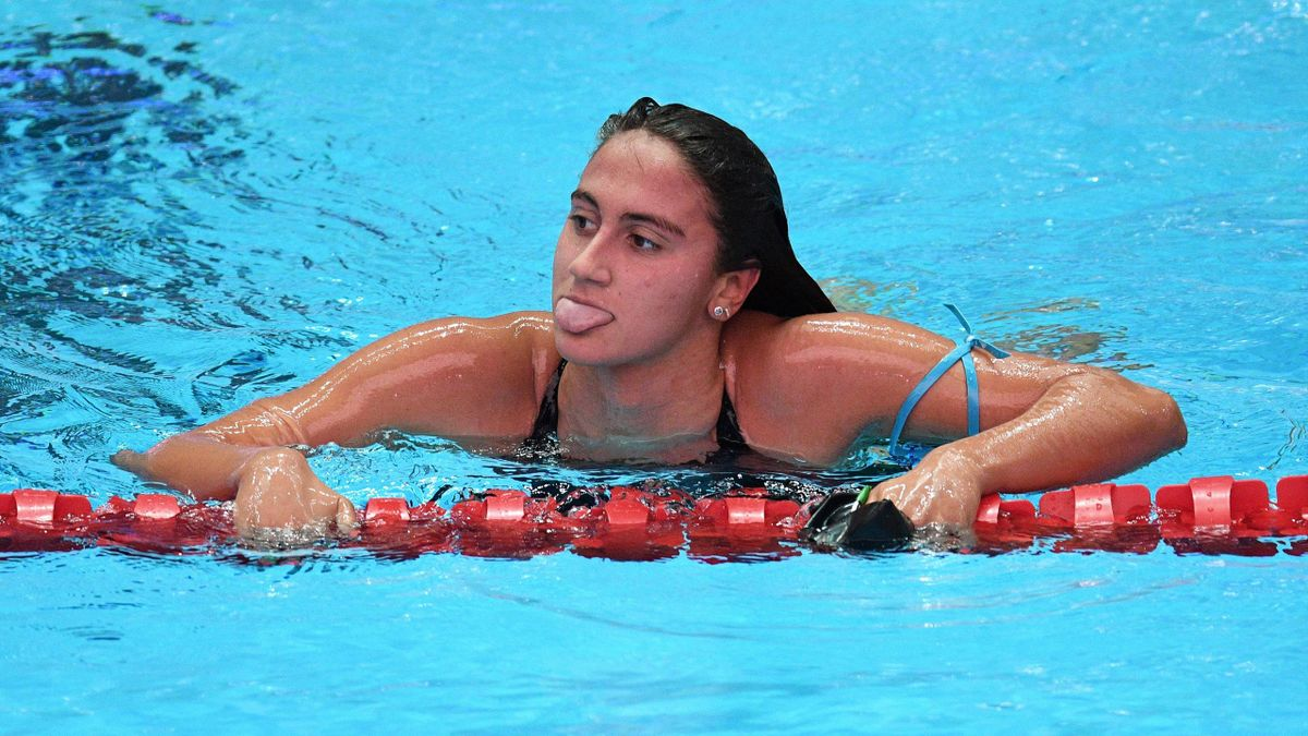Italy's Simona Quadarella reacts after competing in her heat for the women's 800m freestyle event during the swimming competition at the 2019 World Championships at Nambu University Municipal Aquatics Center in Gwangju, South Korea, on July 26, 2019