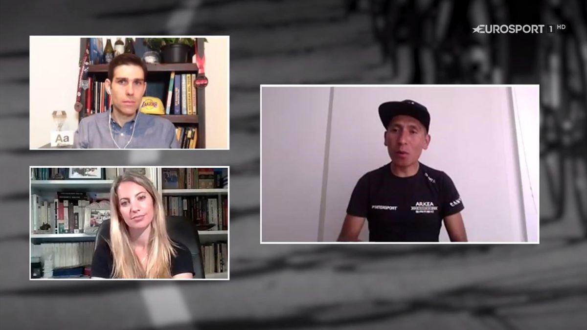 Adrián García Roca, Nairo Quintana y Laura Meseguer en 'La Montonera'