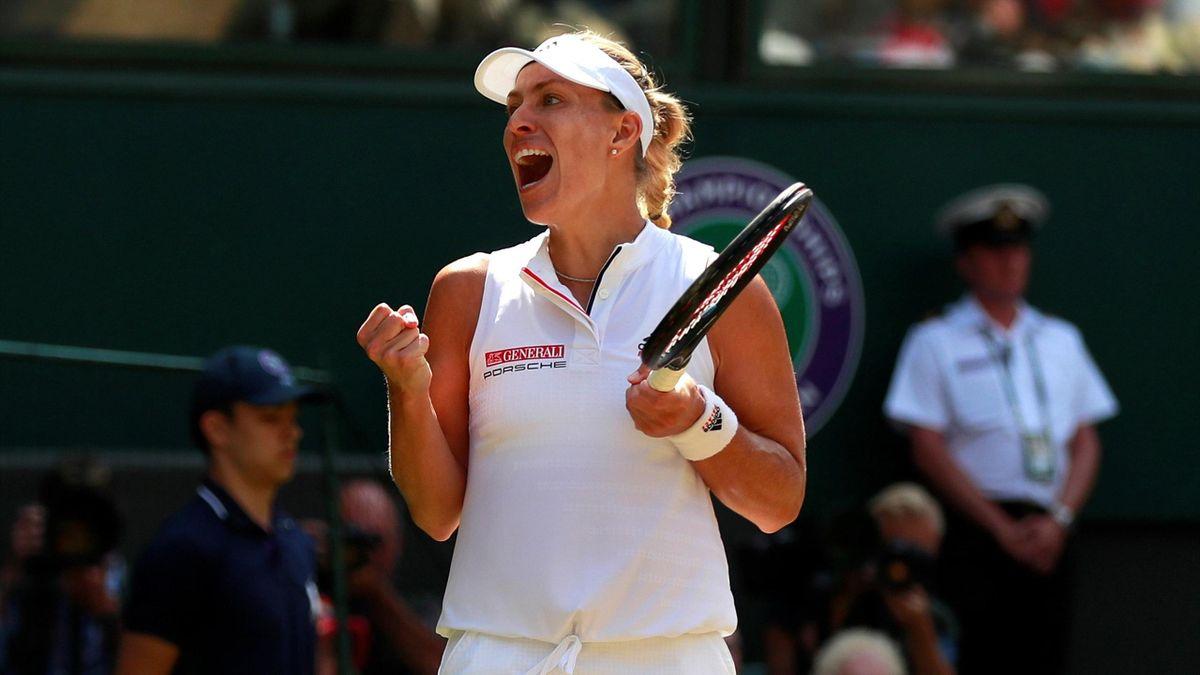 Germany's Angelique Kerber celebrates winning her semi-final match against Latvia's Jelena Ostapenko
