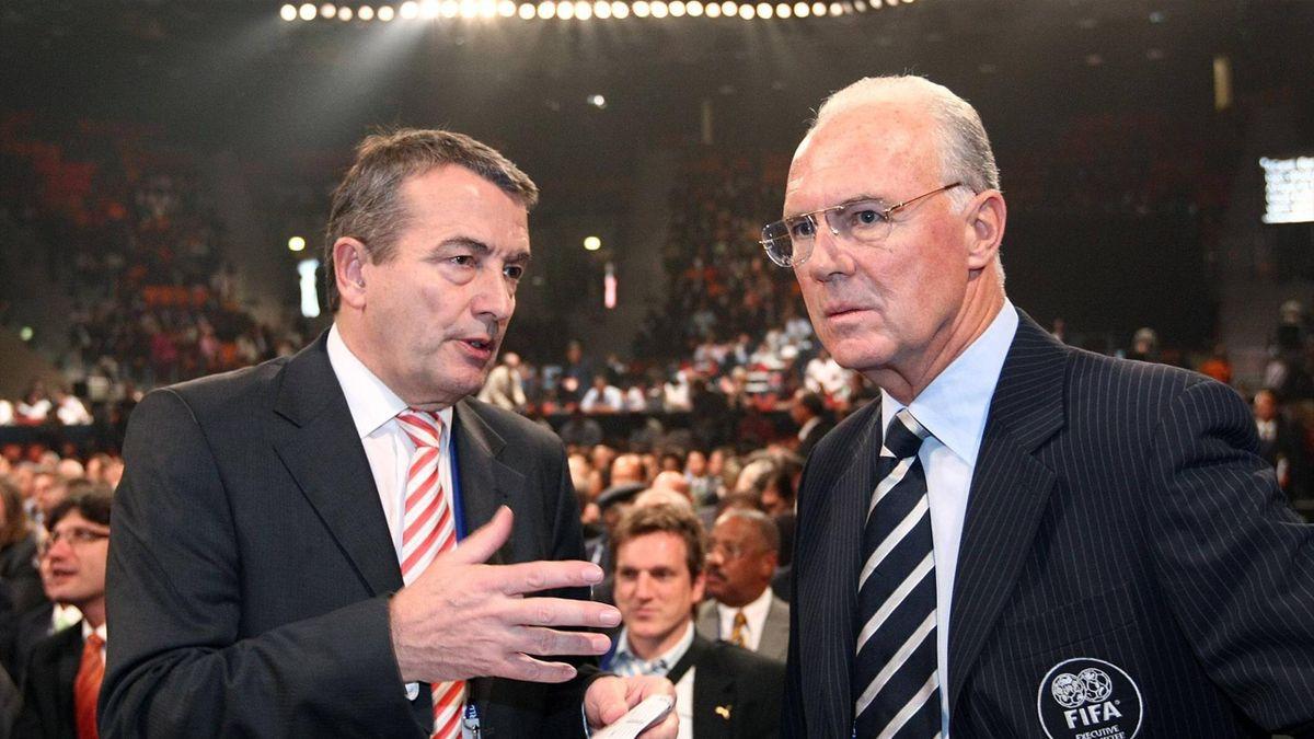 Ex-DFB-Präsident Wolfgang Niersbach und Franz Beckenbauer