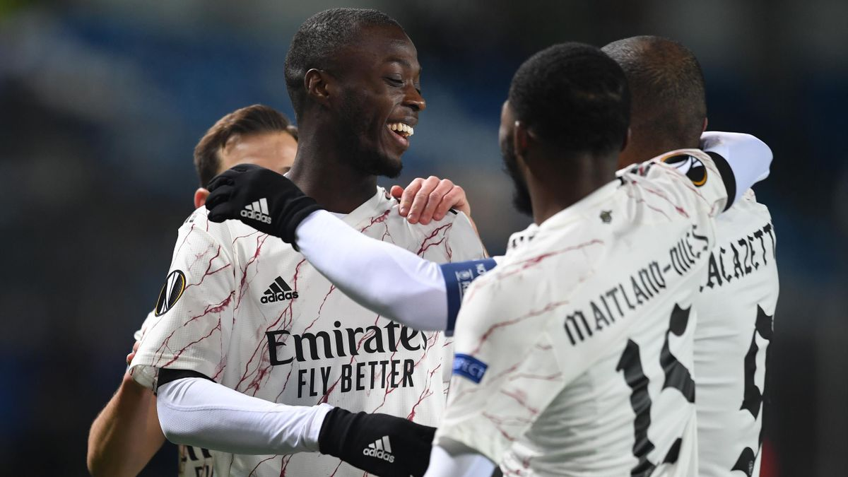Nicolas Pepe celebrates scoring for Arsenal