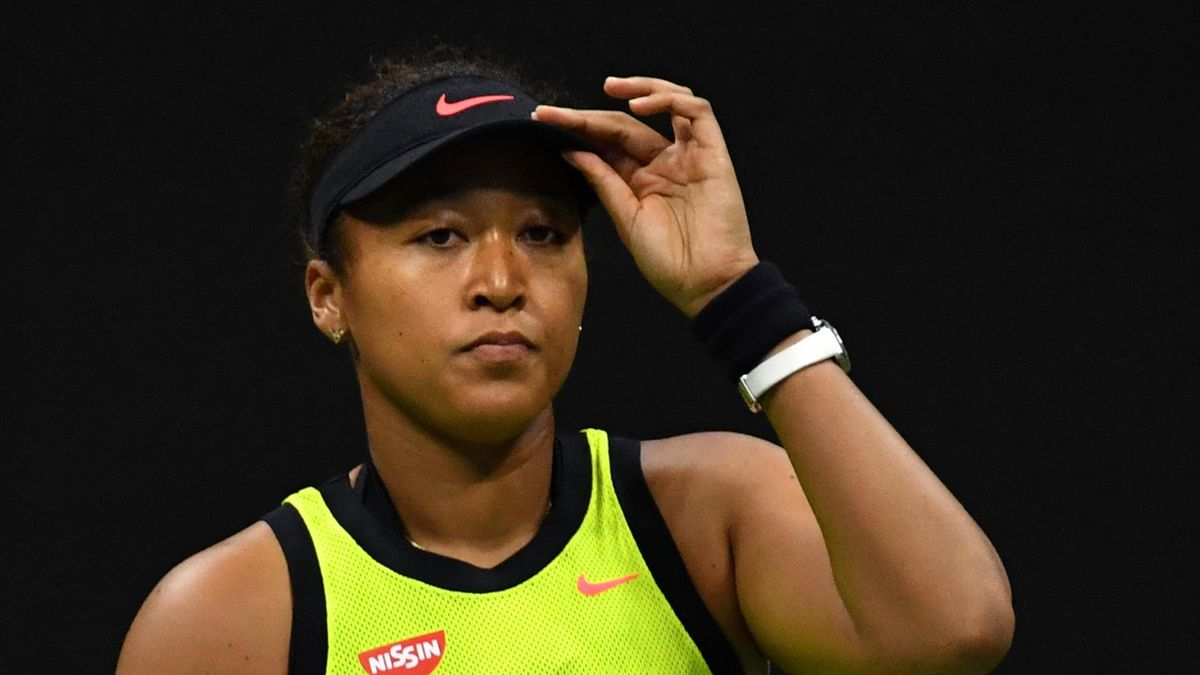 Japan's Naomi Osaka reacts during her 2021 US Open Tennis tournament women's singles third round match against Canada's Leylah Fernandez at the USTA Billie Jean King National Tennis Center in New York, on September 3, 2021.