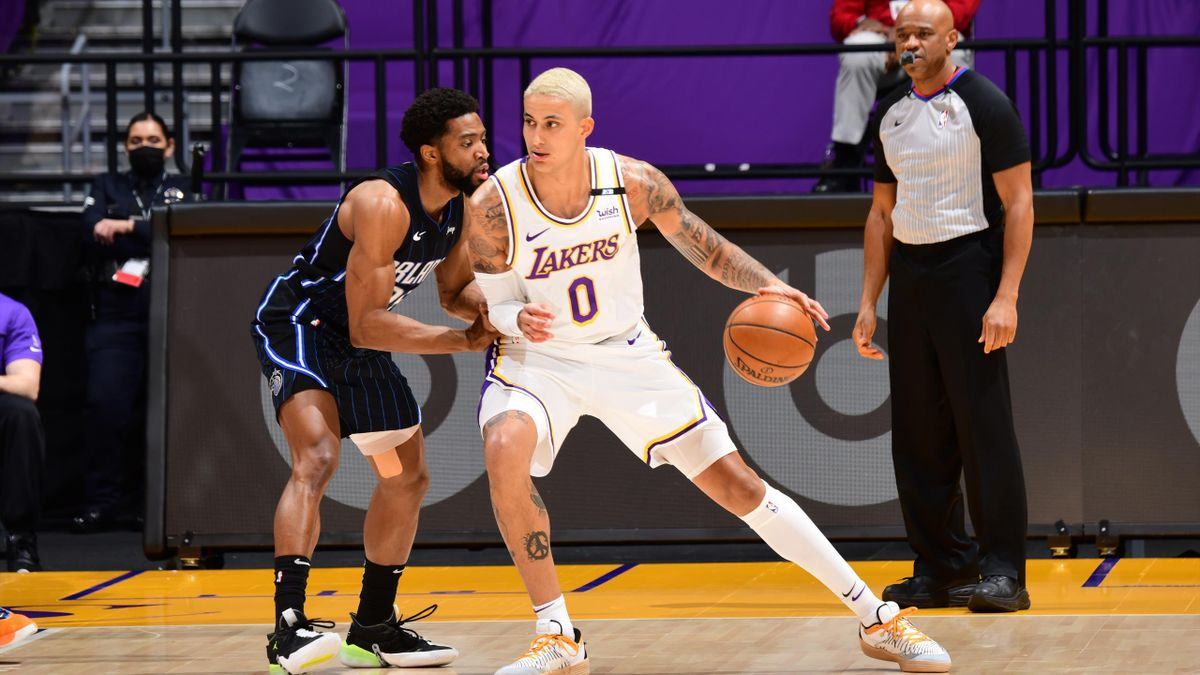 Kyle Kuzma #0 of the Los Angeles Lakers handles the ball against the Orlando Magic on March, 28, 2021 at STAPLES Center in Los Angeles, California.