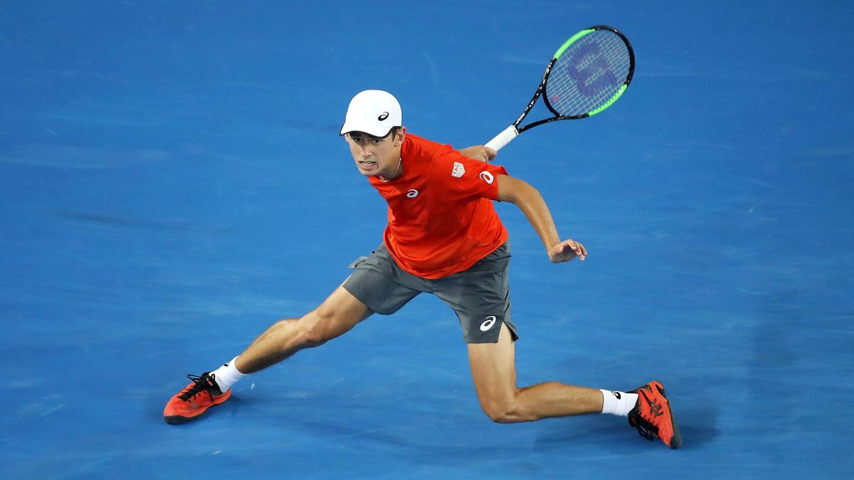 Alex De Minaur of Australia plays a forehand in his second round match against Henri Laaksonen of Switzerland during day three of the 2019 Australian Open at Melbourne Park on January 16, 2019 in Melbourne, Australia.