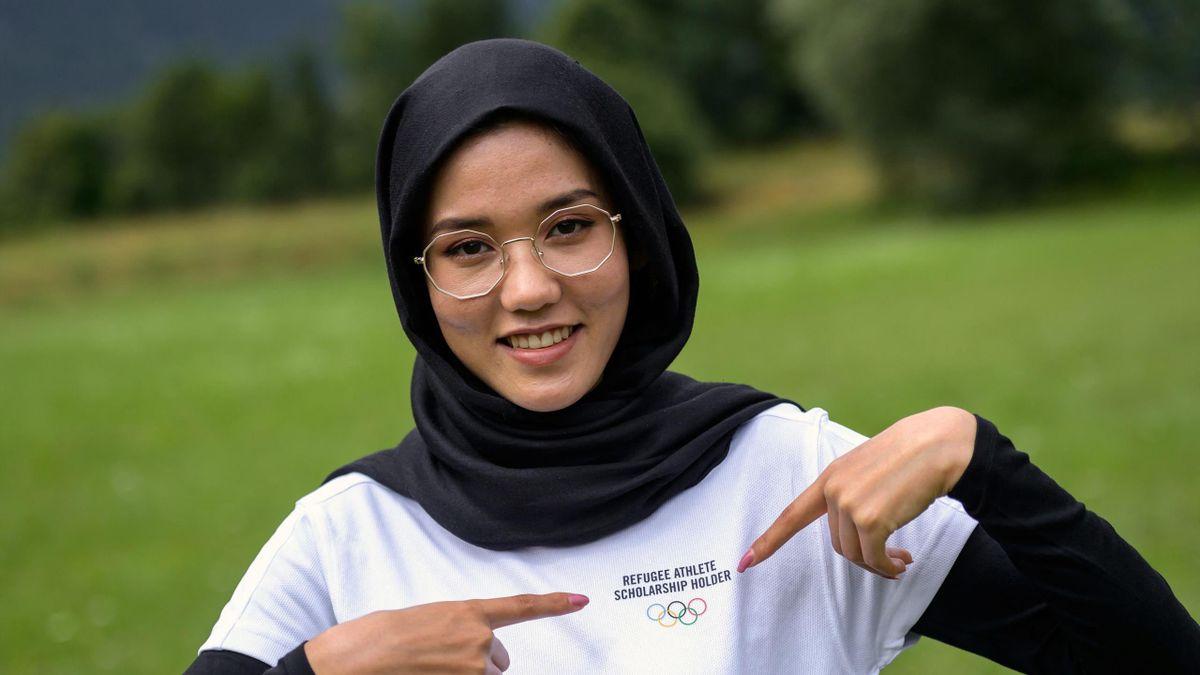 Masomah Ali Zada del equipo olímpico de refugiados tras competir en la prueba de ciclismo contrarreloj