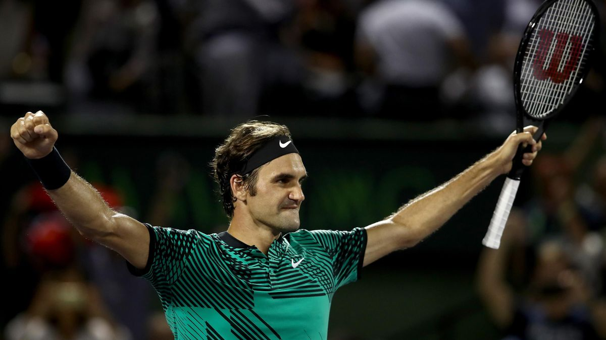 Roger Federer of Switzerland celebrates defeating Nick Kyrgios of Australia in the semi finals at Crandon Park Tennis Center on March 31, 2017 in Key Biscayne, Florida
