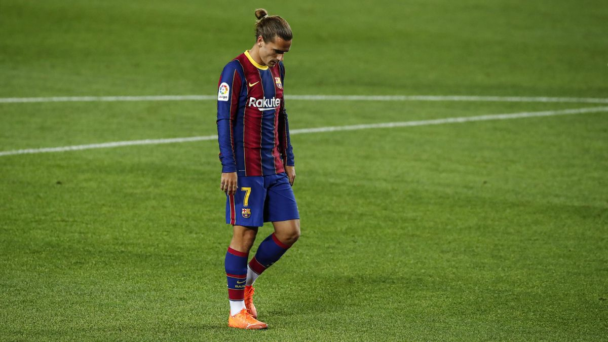 Antoine Griezmann of FC Barcelona during La Liga match between FC Barcelona and Sevilla FC behind closed doors due to Coronavirus at Camp Nou Stadium on October 04, 2020 in Barcelona, Spain