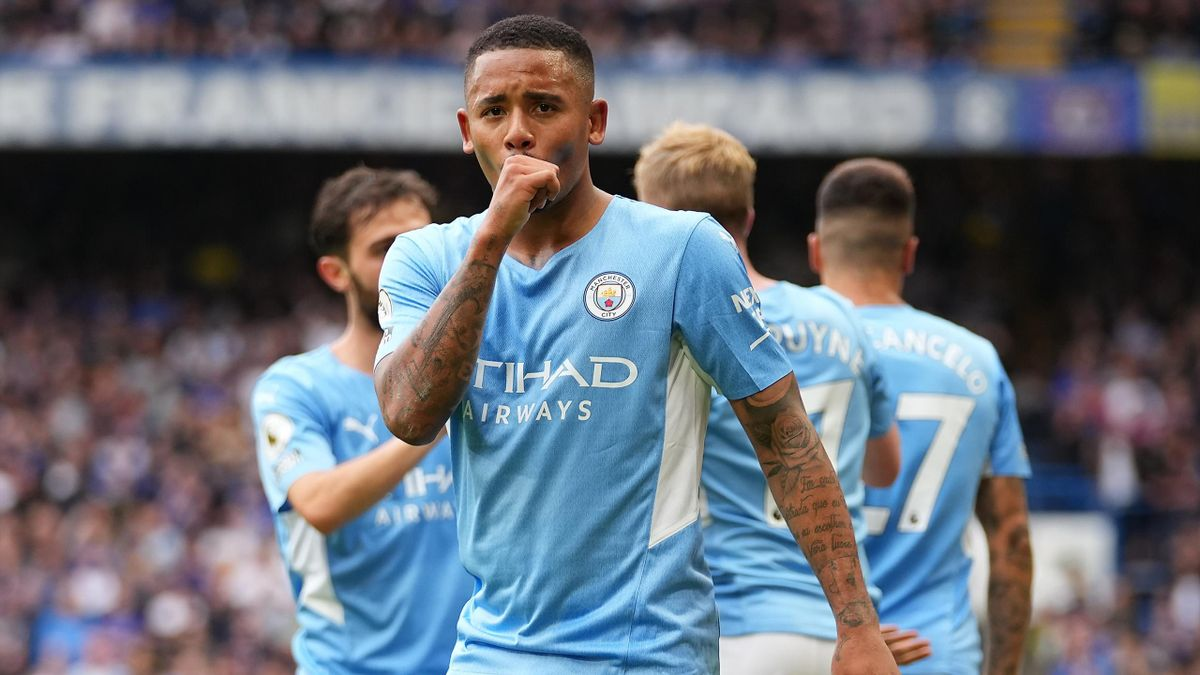 Gabriel Jesus of Manchester City celebrates scoring his sides first goal during the Premier League match between Chelsea and Manchester City at Stamford Bridge on September 25, 2021 in London, England.