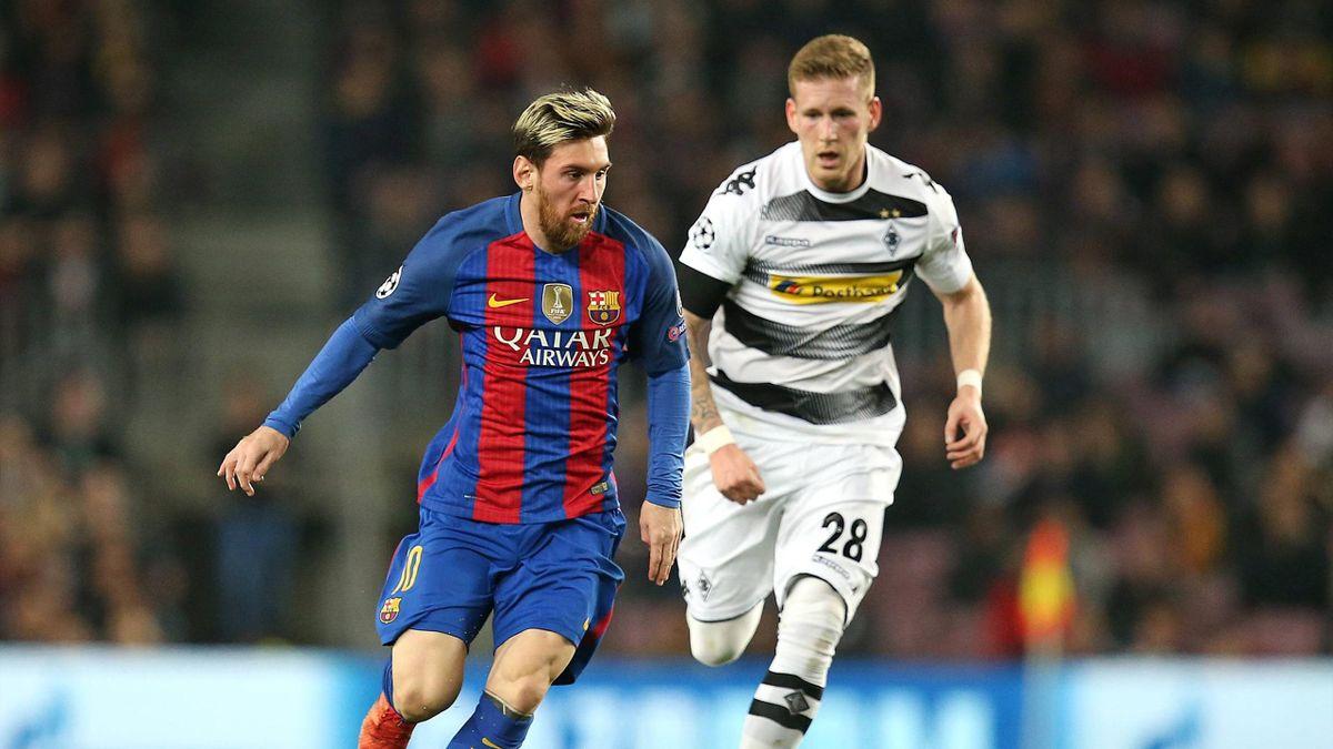 Lionel Messi trifft zum 1:0 gegen Gladbach