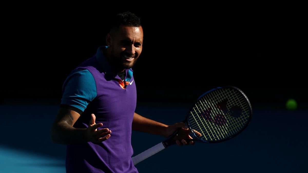 Nick Kyrgios and Thanasi Kokkinakis play in their Men's doubles second round match against Wesley Koolhof of the Netherlands and Lukasz Kubot of Poland during day seven of the 2021 Australian Open at Melbourne Park