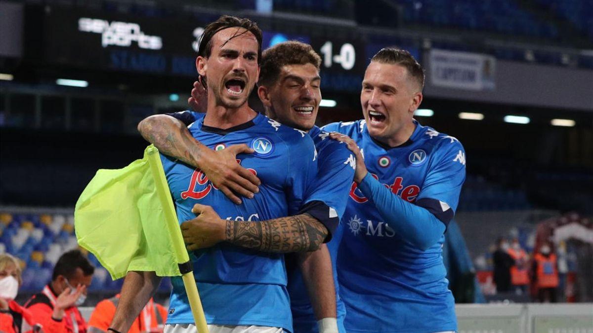 Fabian Ruiz, Di Lorenzo e Zielinski esultano - Napoli-Udinese Serie A 2020-21