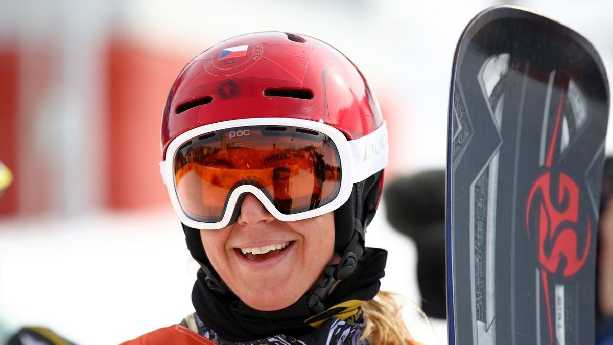 Ester Ledecka of the Czech Republic celebrates winning gold in the Ladies' Snowboard Parallel Giant Slalom Big Final on day fifteen of the PyeongChang 2018 Winter Olympic Games at Phoenix Snow Park on February 24