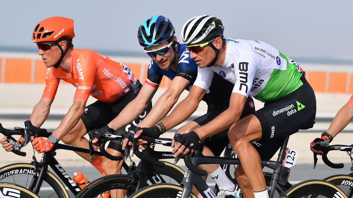 Roman Kreuziger of Czech Republic and Team Dimension Data / Michal Golas of Poland and Team Sky / Serge Pauwels of Belgium and CCC Team / during the 5th UAE Tour 2019, Stage 2 a 184km stage from Yas Mall to Abu Dhabi