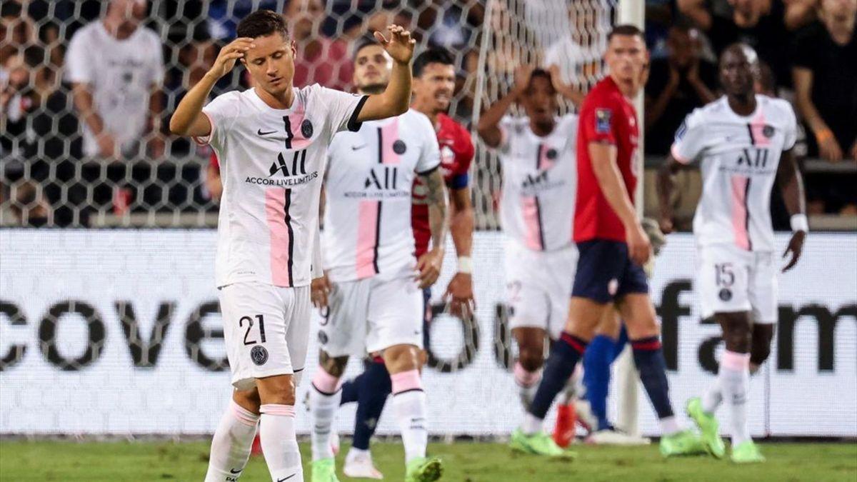Ander Herrera e Icardi delusi al momento del gol - Lille-PSG - Supercoppa di Francia 2021