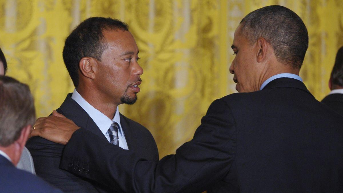 Tiger Woods (l.) und Barack Obama