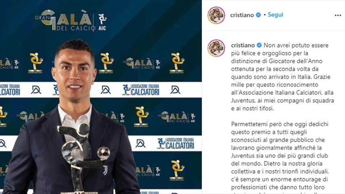 Il messaggio di Ronaldo dedicato alla Juventus