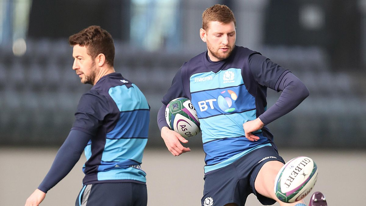 Finn Russell takes part in a training session prior to the Guinness Six Nations match between Scotland and Wales at the Oriam on on March 04, 2019 in Edinburgh, Scotland.