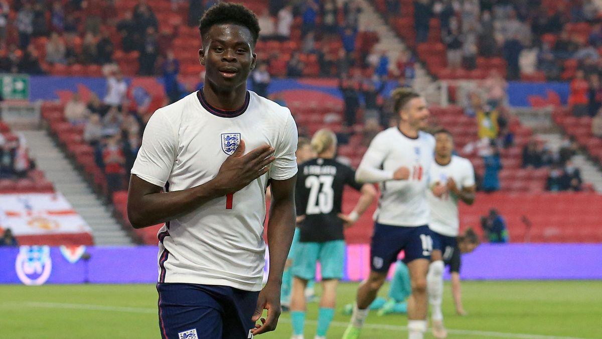 Bukayo Saka scores his first senior England goal