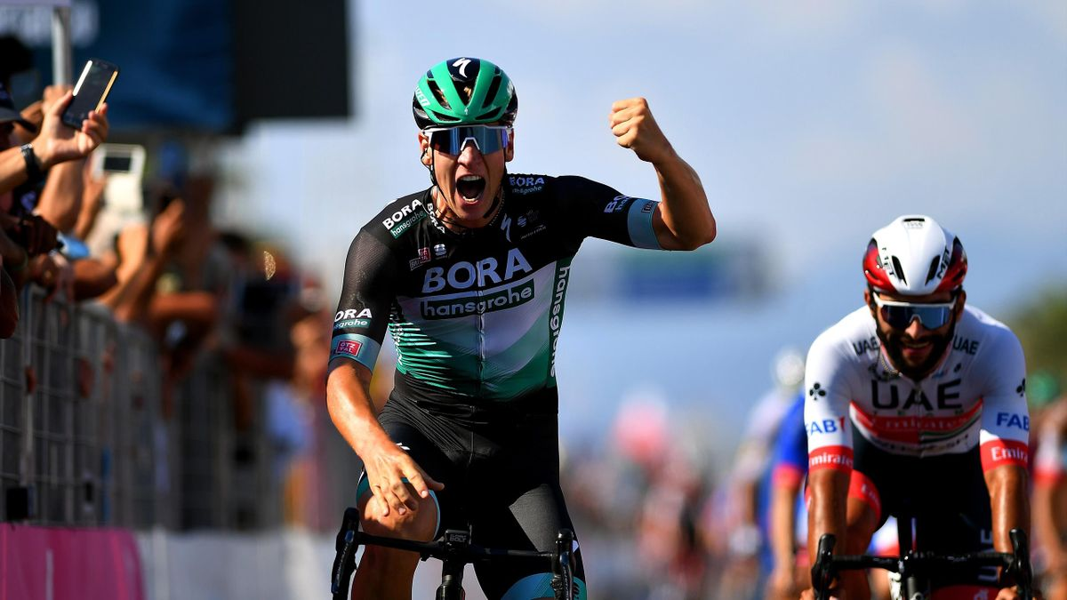 Pascal Ackermann of Germany and Team Bora-Hansgrohe / Celebration / Fernando Gaviria Rendon of Colombia and UAE Team Emirates / during the 55th Tirreno-Adriatico 2020, Stage 1 a 133km stage from Lido di Camaiore to Lido di Camaiore