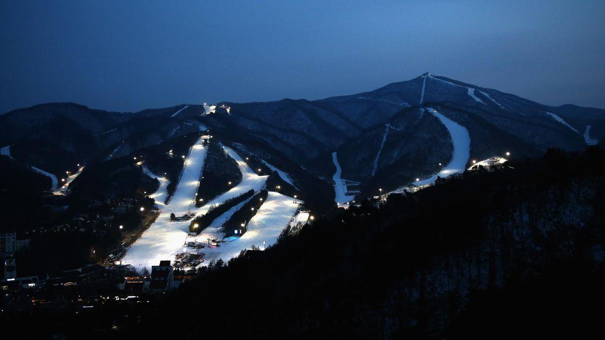 A general view of the Yongpyong Alpine Centre in the Pyeongchang Mountain Cluster, host of the Pyeongchang 2018 Winter Olympic Games, on February 28, 2017 in Pyeongchang-gun, South Korea