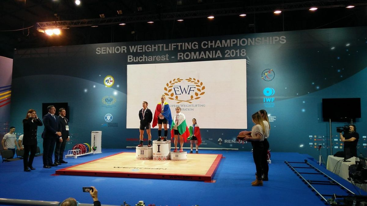 Podium presentation for the 48kg women at the European Championships in Bucharest