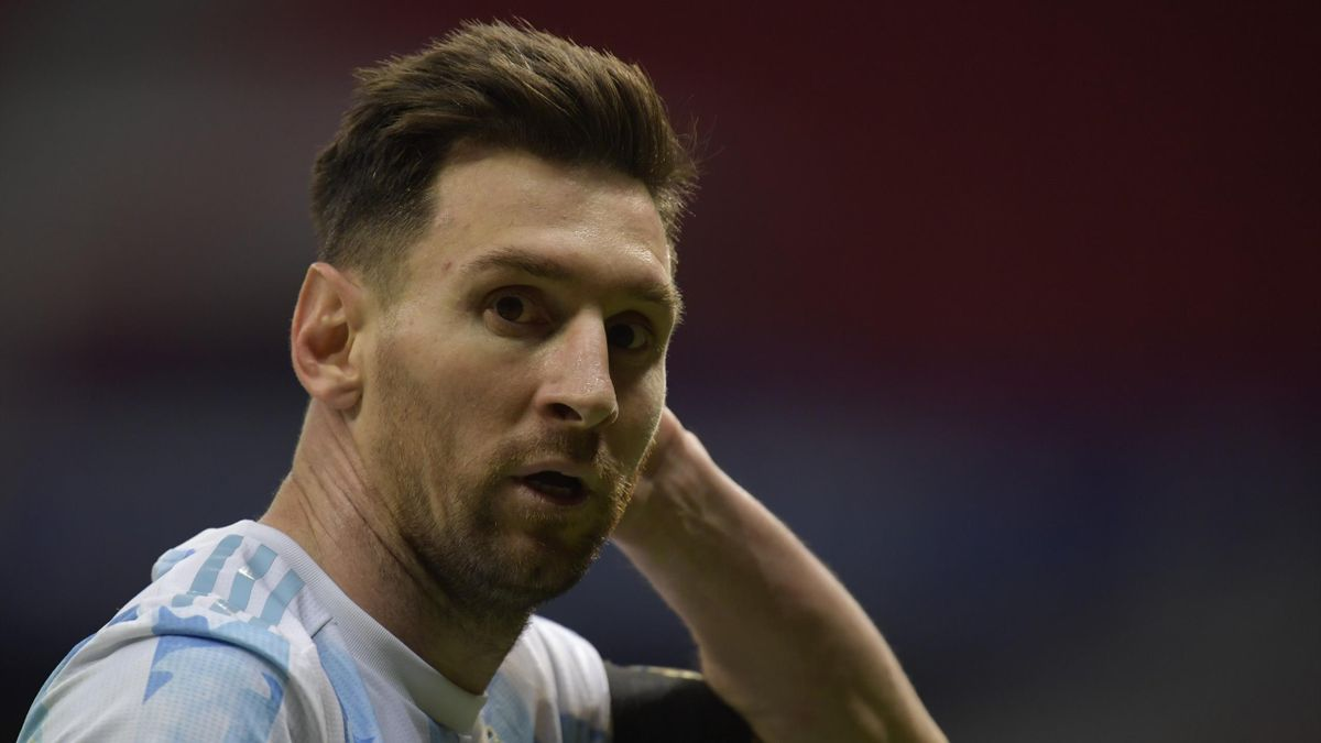 Lionel Messi of Argentina looks on during a semi-final match of Copa America Brazil 2021 between Argentina and Colombia