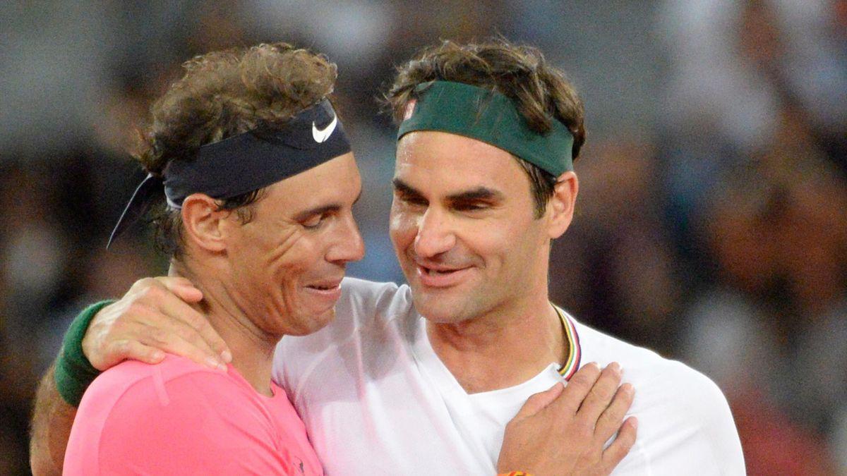 Rafael Nadal und Roger Federer (re.)