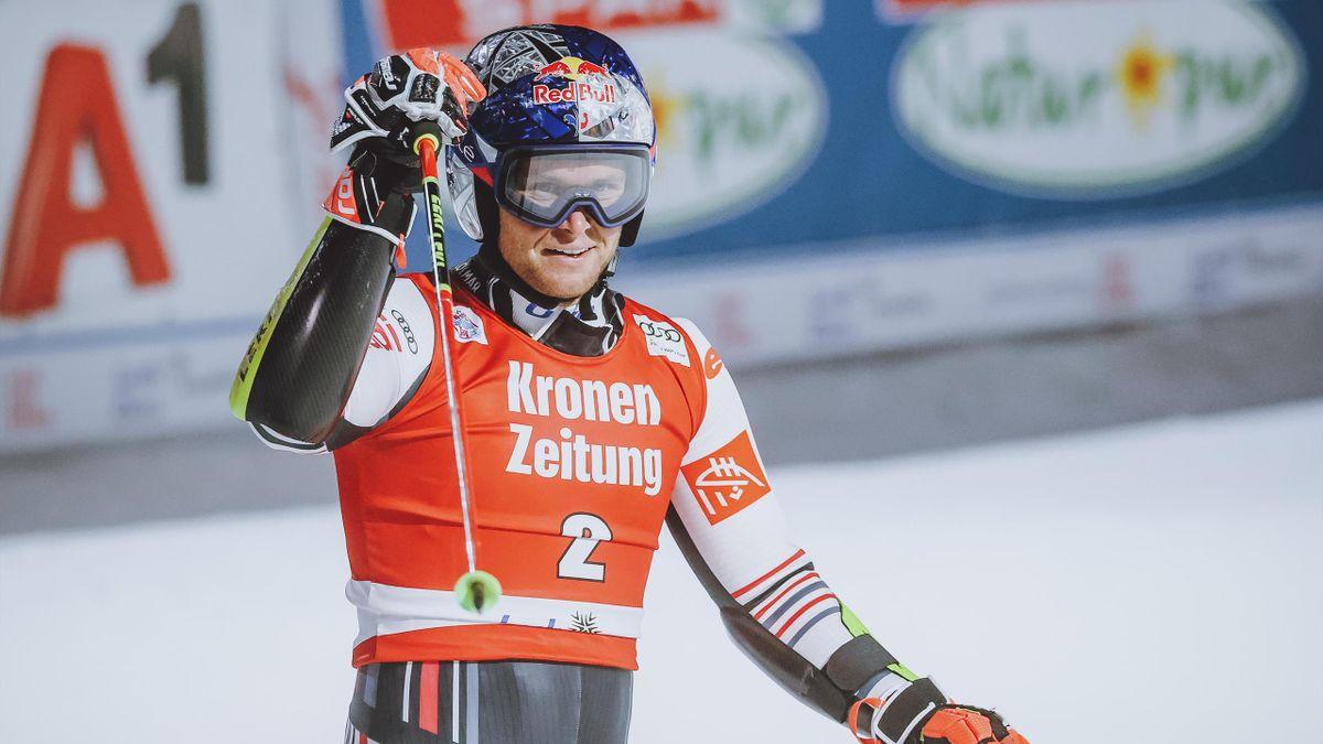 Alexis Pinturault lors de sa victoire au géant parallèle de Lech, le 27 novembre 2020