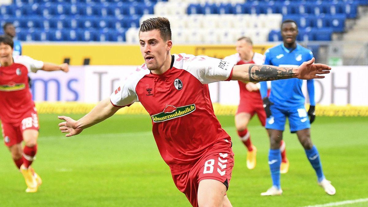Baptiste Santamaria traf in Sinsheim zur 1:0-Führung für den SC Freiburg