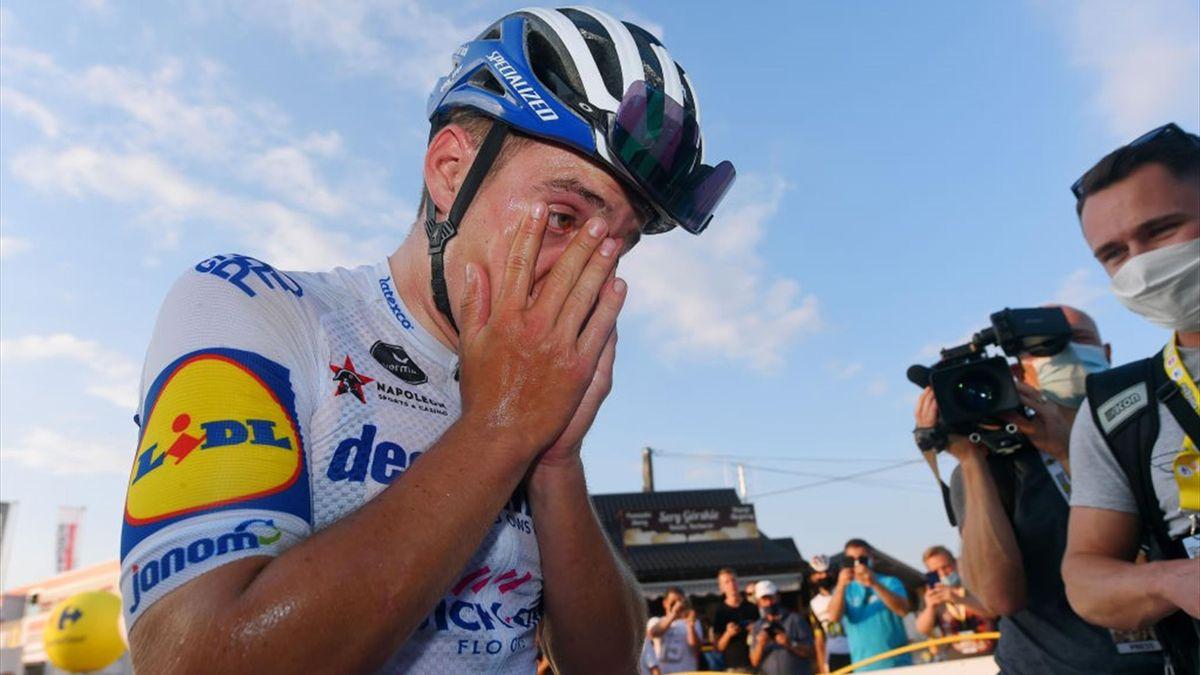 Remco Evenepoel esulta per il successo a Bukowina Tatrzańska nella 4a tappa del Giro di Polonia 2021 - Getty Images
