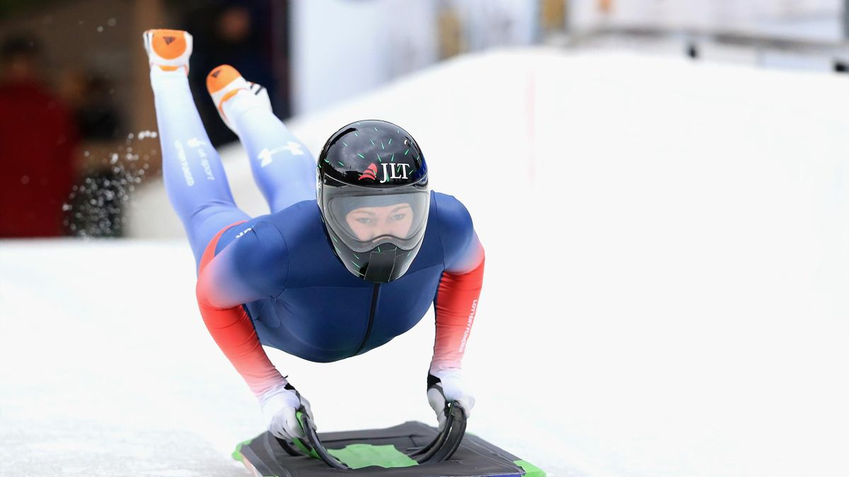 Lizzy Yarnold of Great Britain takes a training run in the Women's Skeleton during the BMW IBSF Bobsleigh + Skeleton World Cup at Utah Olympic Park November 16, 2017 in Park City, Utah.