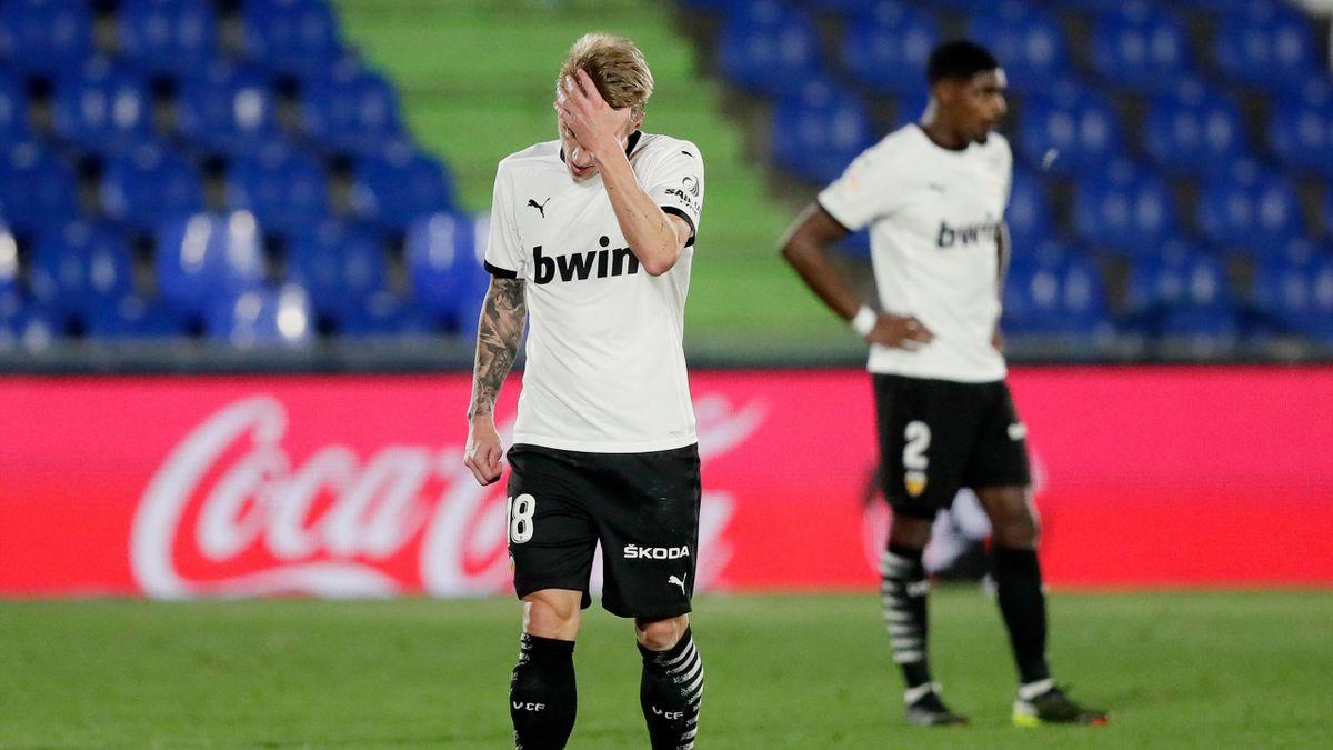 Daniel Wass et Thierry Correia lors de la rencontre Getafe - Valence (3-0), lors de la 25e journée de Liga