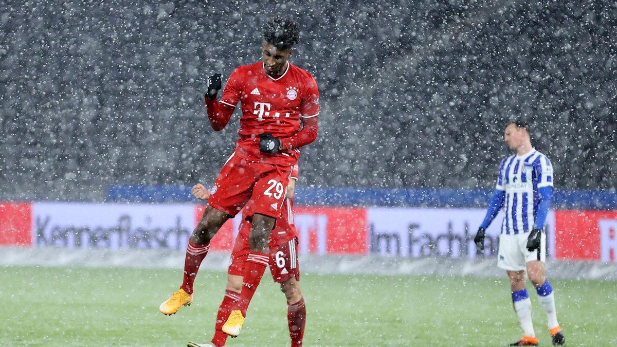 Kingsley Coman buteur lors du match opposant le Hertha Berlin au Bayern Munich, le 5 février 2021