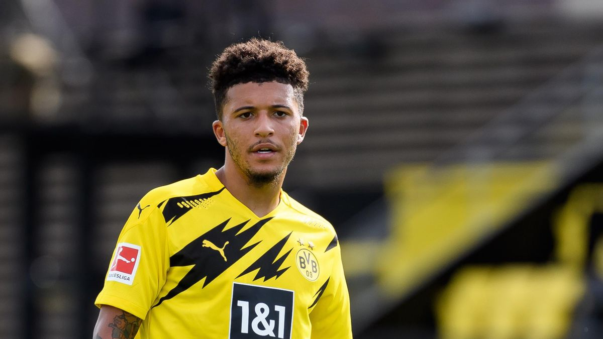Jadon Sancho of Borussia Dortmund looks on during the pre-season friendly match between Borussia Dortmund and SC Paderborn on August 28, 2020 in Dortmund, Germany.